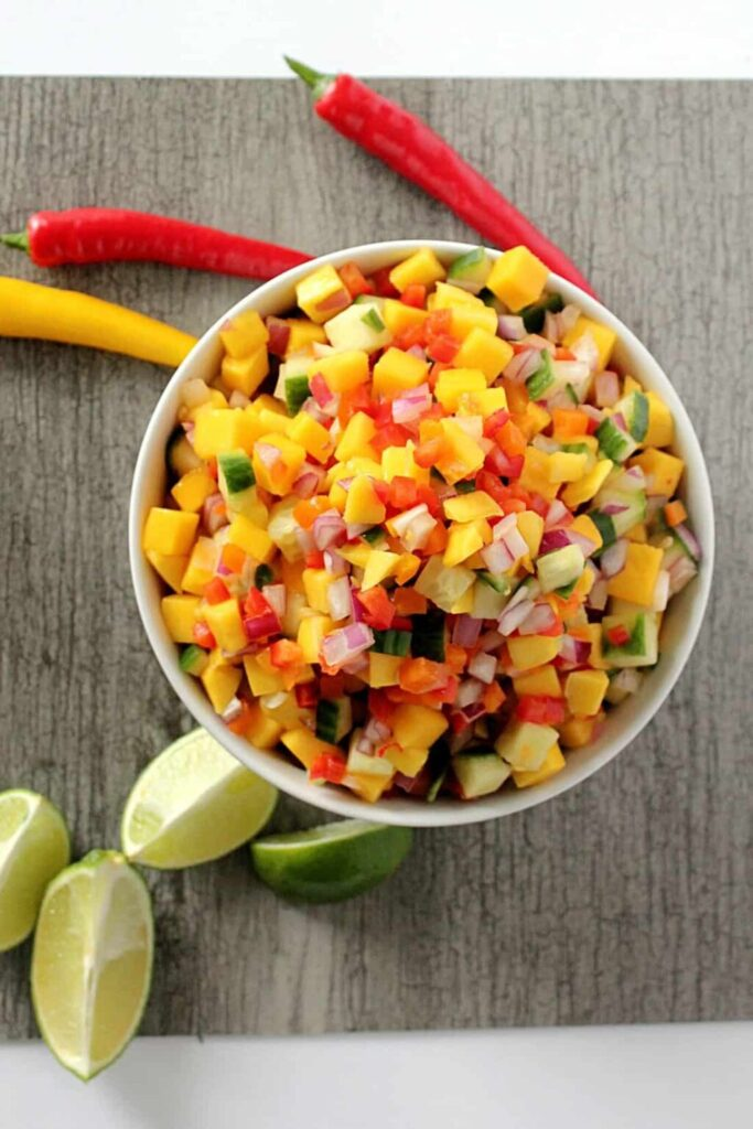 Cucumber Mango Salsa | A delicious, easy, and refreshing salsa perfect for hot summer days! {gluten free, vegan, paleo} | cravethegood.com