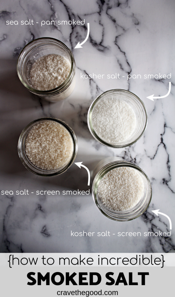 A labeled overhead view of 4 different mason jars with smoked salt in them. They are varying degrees smoked colour.